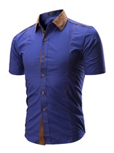 Lapel Patchwork Short Sleeve Men's Leisure Shirt
