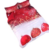 Christmas Red Printed Cotton 4-Piece 3D White Bedding Sets/Duvet Covers