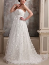 Lace Strapless Empire Waist Beaded Maternity Wedding Dress