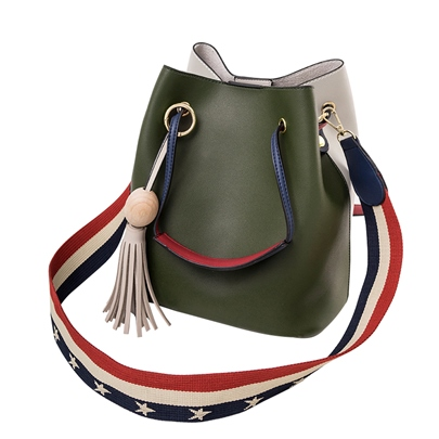 Korean Style Stripe Barrel-Shaped Crossbody Bag