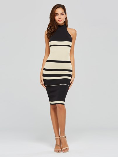 Stand Collar Stripe Knit Sheath Dress