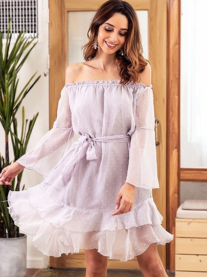 Purple Tiered Lace up Women's Day Dress