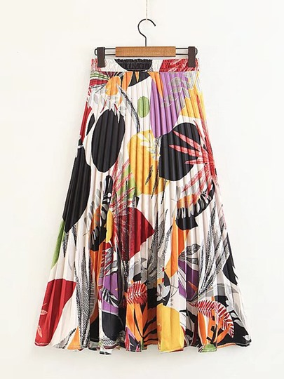 Floral Print Pleated Mid-Calf Women's Skirt