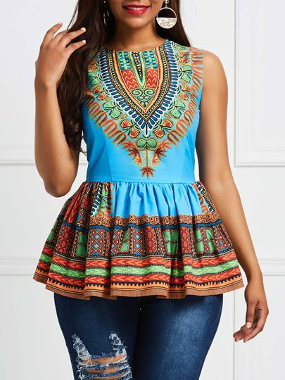 Sleeveless African Fashion Print Dashiki Traditional Womens T-Shirt Sleeveless African Fashion Print Dashiki Traditional Women's T-Shirt