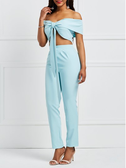Lake Blue Off Shouder Tie Front Crop Top with Pants Women's Two Piece Set