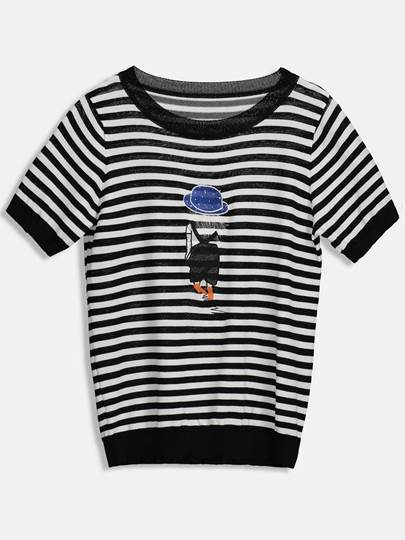 Cartoon Stripe Printed Women's Simple T-Shirt