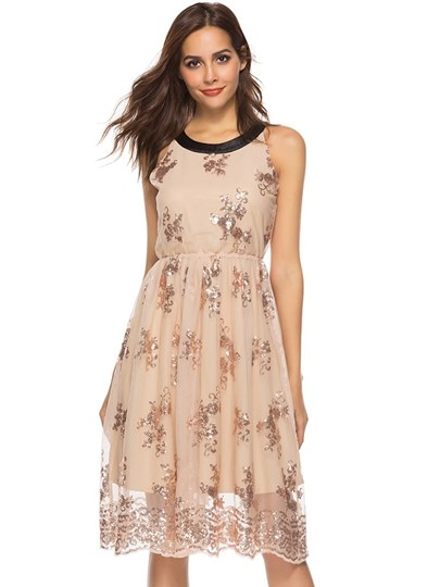 Champagne Appliques Women's Day Dress