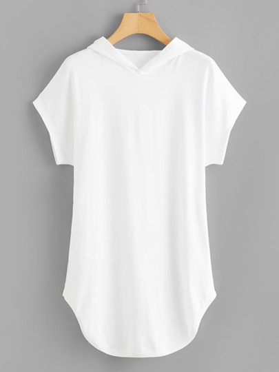 Simple Solid Color Hooded Women's T-Shirt