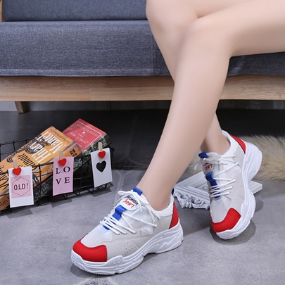 Patchwork Color Block Round Toe Lace Up Women's Sneaker