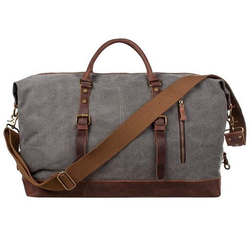 Oversized Canvas Belt Decorated Travel Tote Bag