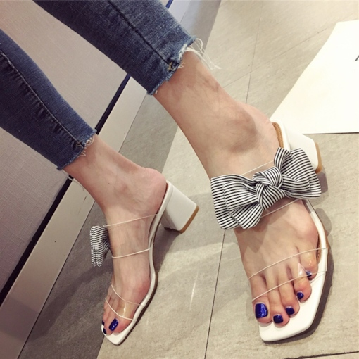 Casual Bowknot Chunky Heel Slip-On Flip Flop for Women