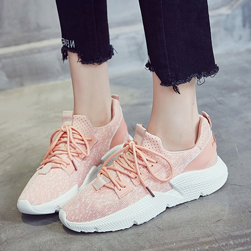 Patchwork Plain Mesh Lace-Up Ladylike Women's Sneaker