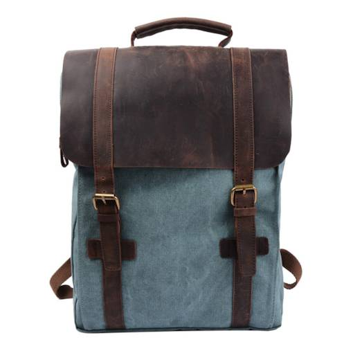 54e0d8543dd4 Retro Canvas Leather School Travel Backpack