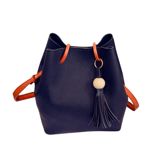PU Tassel Plain Barrel-Shaped Tote Bags