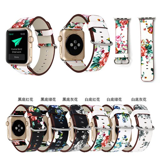 Watch Band Floral Printed Leather Strap for Apple Watch 42mm 38mm