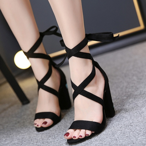 Lace-Up Suede Chunky Heel Floral Embroidery Women's Sandals