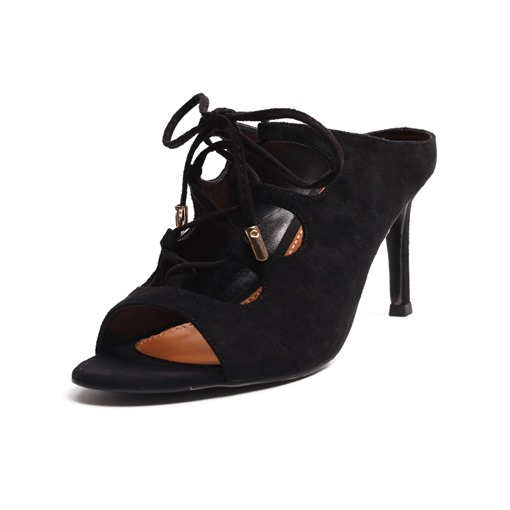 Suede Lace Up Stiletto Heel Slip-On Sandals for Women