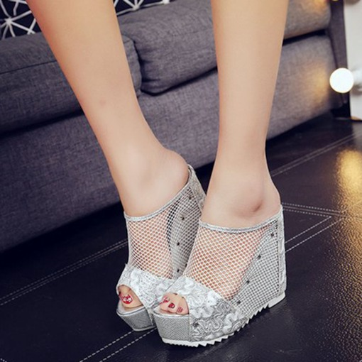 Lace Mesh Hollow Platform Slip-On Flip Flop for Women