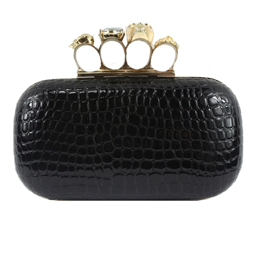 Vintage Solid Color Ring Decoration Women Clutch
