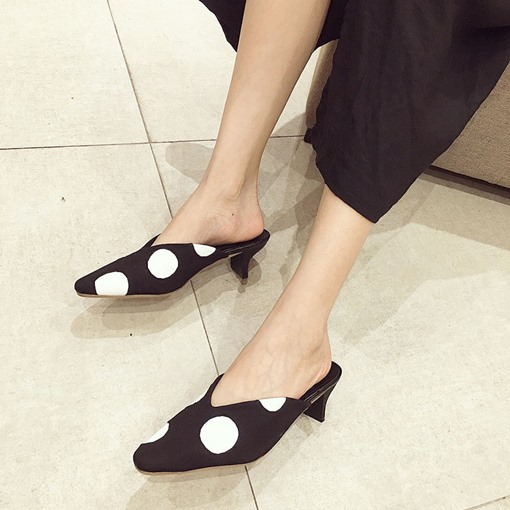 Closed Toe Polka Dot Casual Slip-On Women's Pointed Toe Mules