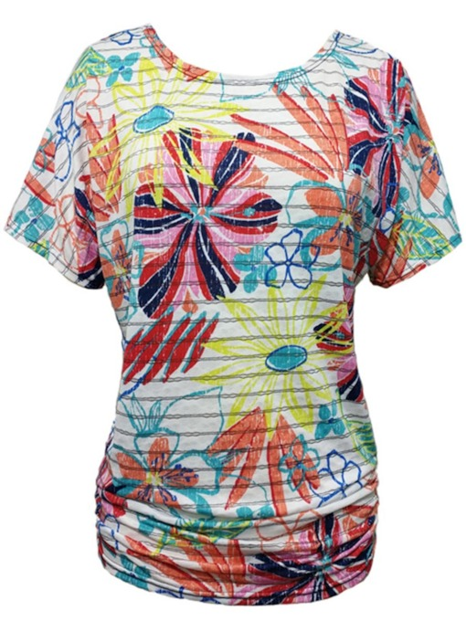 Mixed Floral Printed Casual Women's T-Shirt