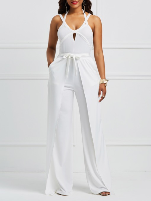 Plain Hollow Halterneck Women's Jumpsuit