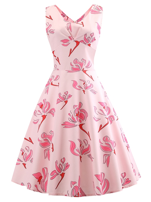 Pink Floral Prints Sleeveless A-Line Day Dress