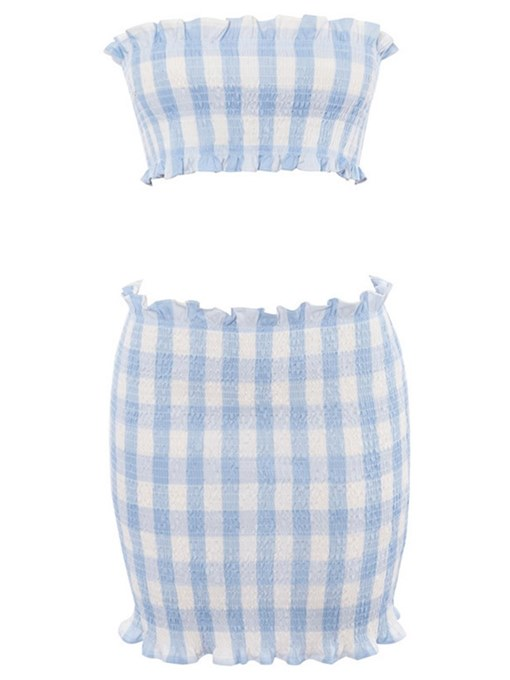Gingham Print Crop Top with Skirt Women's Two Piece Dress