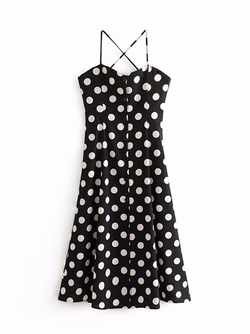 Black Polka Dots Strappy Women's Sexy Dress