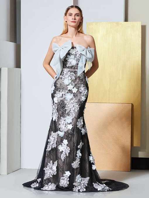 Appliques Bowknot Strapless Mermaid Lace Evening Dress