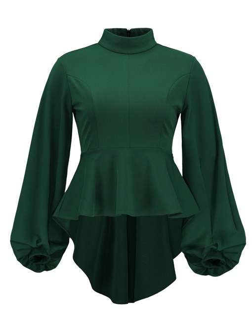 Lantern Sleeve Zipper Up Peplum Women's Blouse