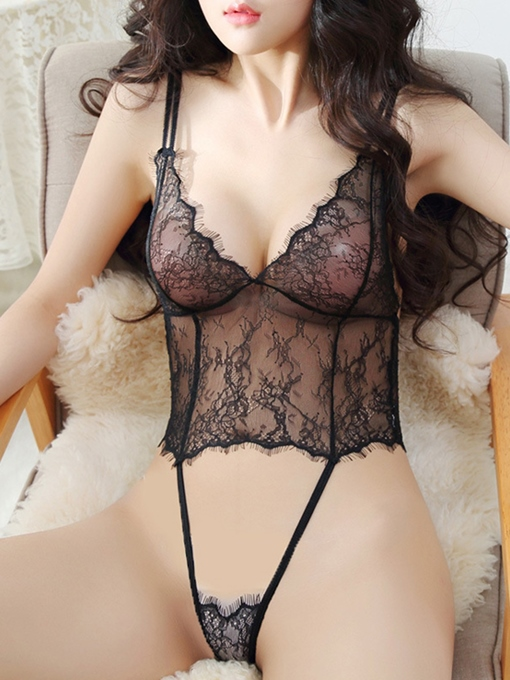 Sexy Hollow Out See Through Tight Wrap Lace Teddy