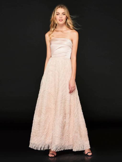 A-Line Strapless Lace Pleats Prom Dress