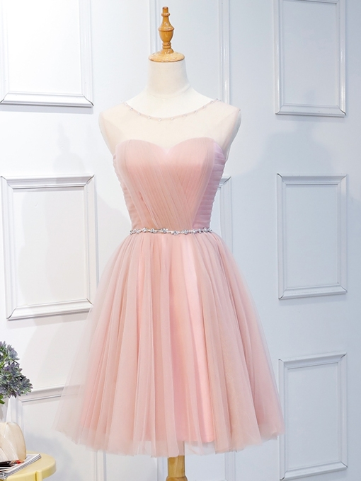 A-Line Beading Pleats Scoop Homecoming Dress