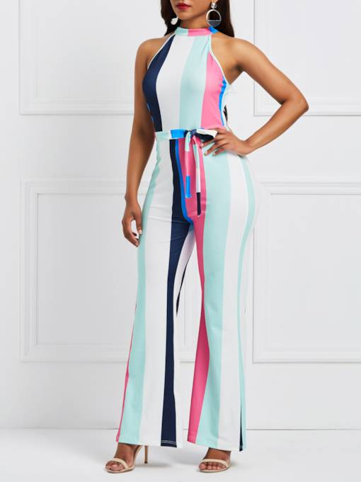Color Block Halter Striped Women's Jumpsuit