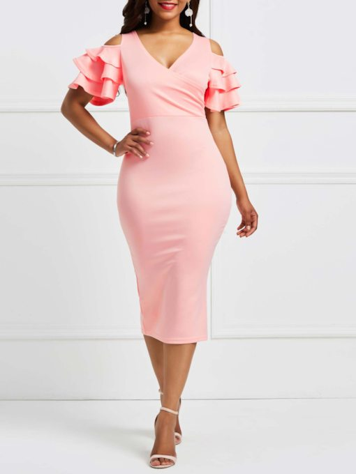 Pink V Neck Half Sleeve High Waist Falbala Dress