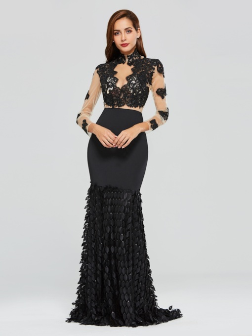 Mermaid High Neck Appliques Beaded Evening Dress