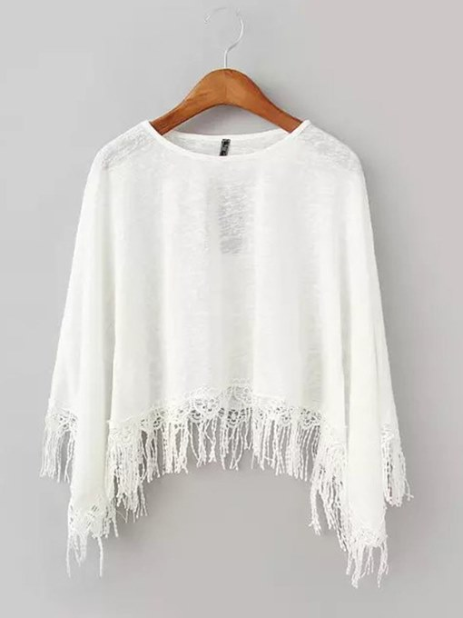 Batwing Sleeve Tassel Cape Women's Lightweight Sweater