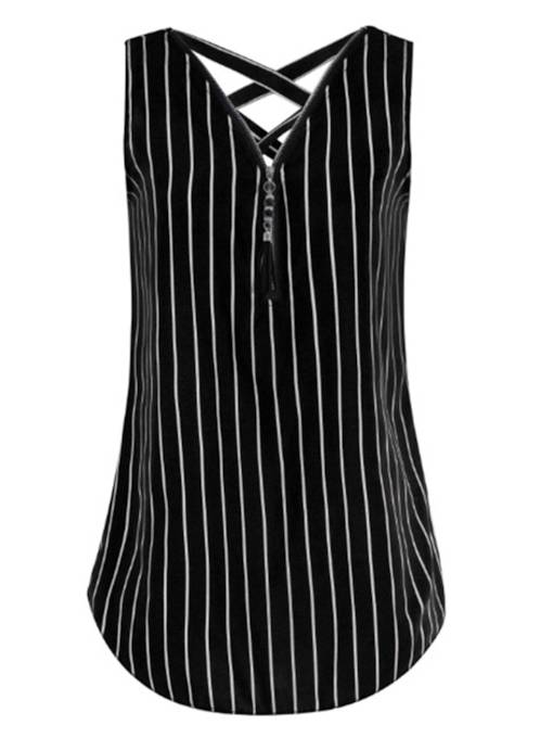 Stripe Crisscross Back Zipper Up Women's Tank Top