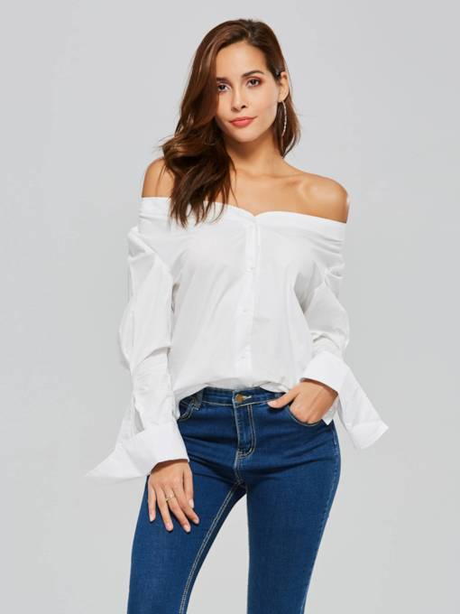Slash Neck Puff Sleeve Single-Breasted Women's Shirt