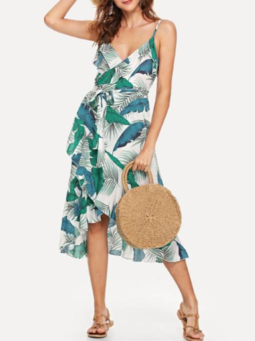 Spaghetti Strap V Neck High-Waist Print Maxi Dress