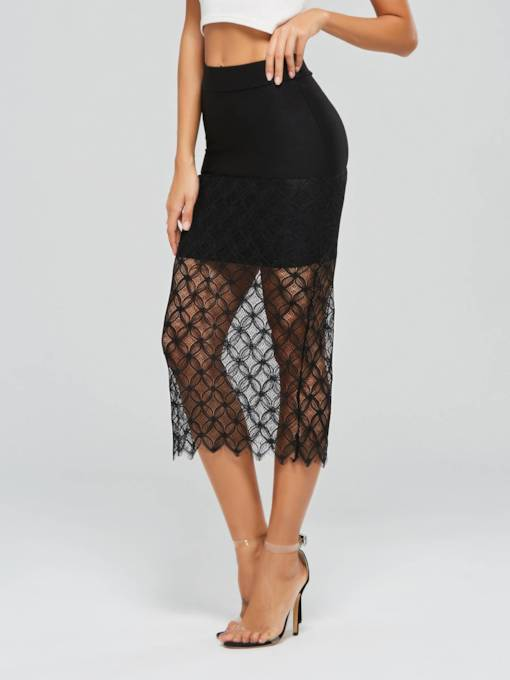Lace Patchwork See-Through Women's Skirt