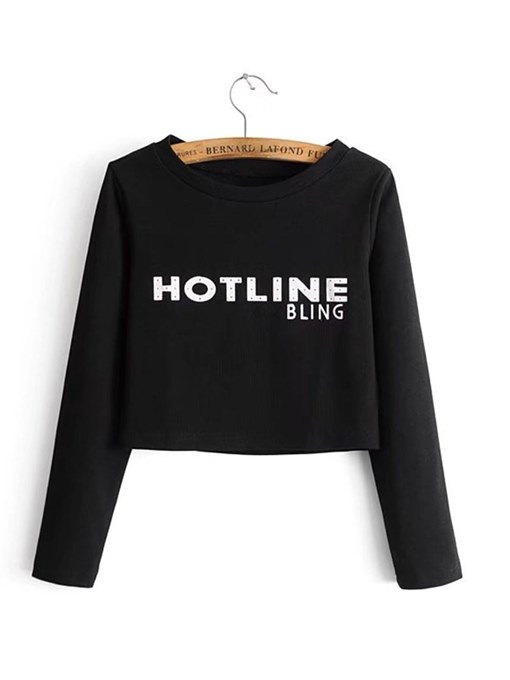 Basic Letter Printed Round Neck Women's T-Shirt