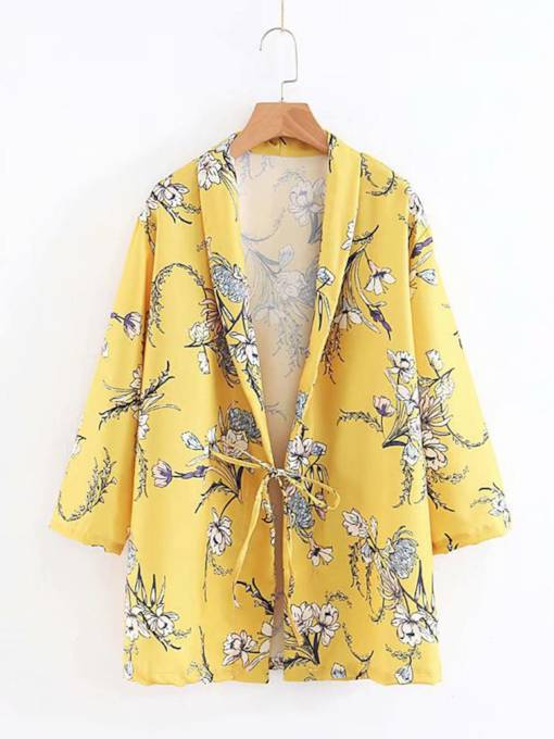 Loose Lace-Up Floral Women's Blazer
