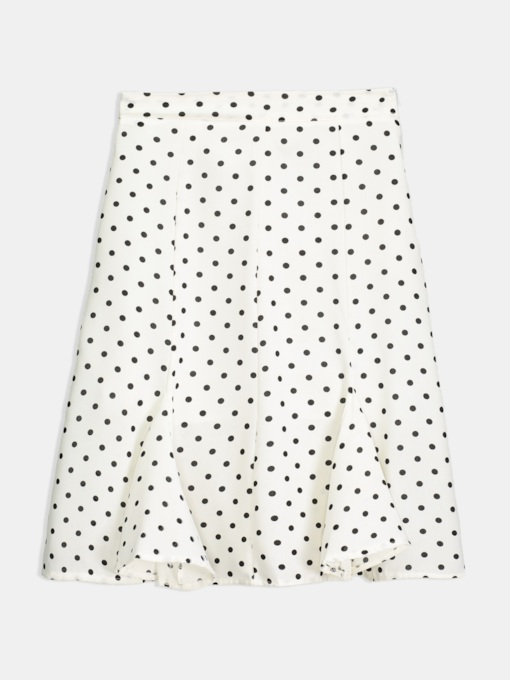 Polka Dots Ruffle Mid-Calf Women's Skirt