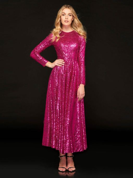 Reflective Dress A-Line Jewel Sequins Prom Dress