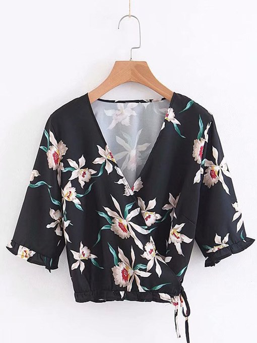 V-Neck Floral Wrapped Top Women's Blouse