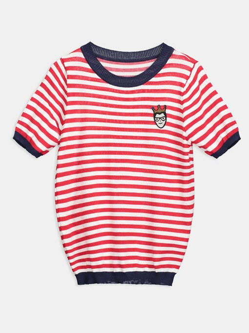 Cartoon Printed Stripe Color Block Women's Ringer Tee