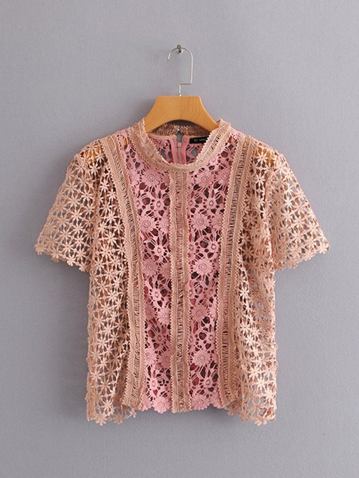 Lace Floral Hollow Out Short Sleeve Women's Blouse