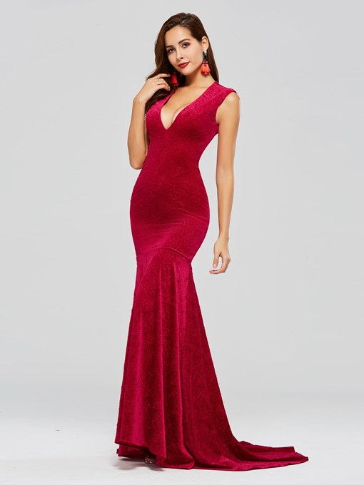 Velvet Mermaid V-Neck Long Evening Dress